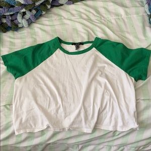 Green and White Crop Top